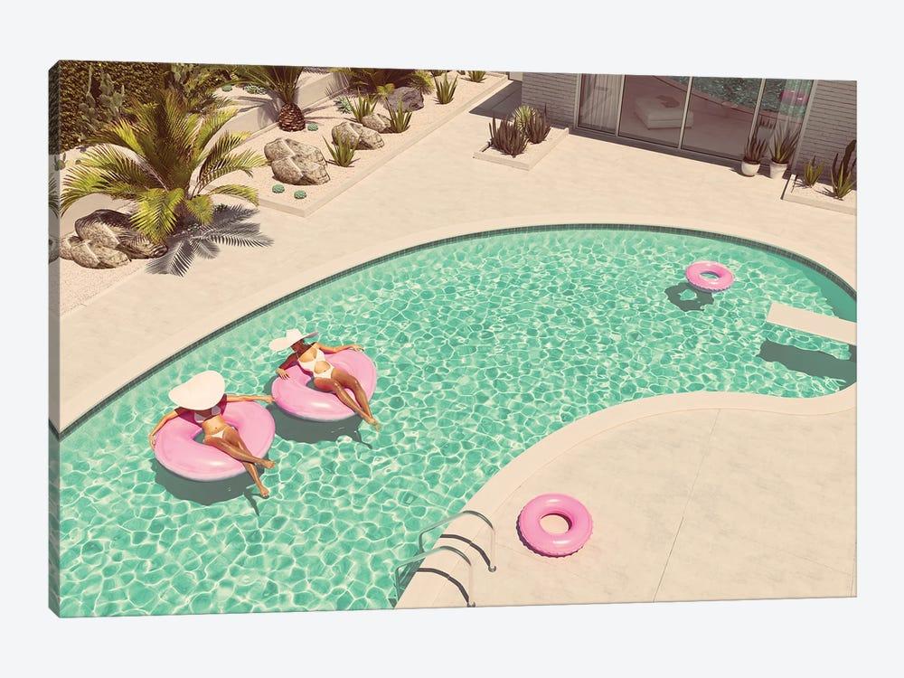 Women Swimming On Float In A Pool. 3D Rendering by 2mmedia 1-piece Art Print