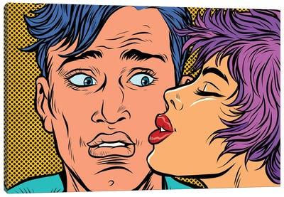 Man And Woman Couple Kiss Canvas Art Print