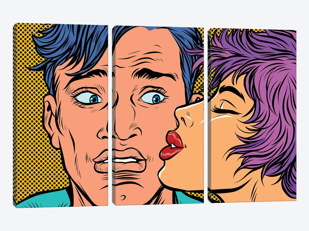Man And Woman Couple Kiss by Depositphotos 3-piece Canvas Wall Art
