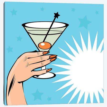 Vintage Background Cocktail With Hand - Pop Art Comic Style Canvas Print #DPT404} by Depositphotos Canvas Artwork