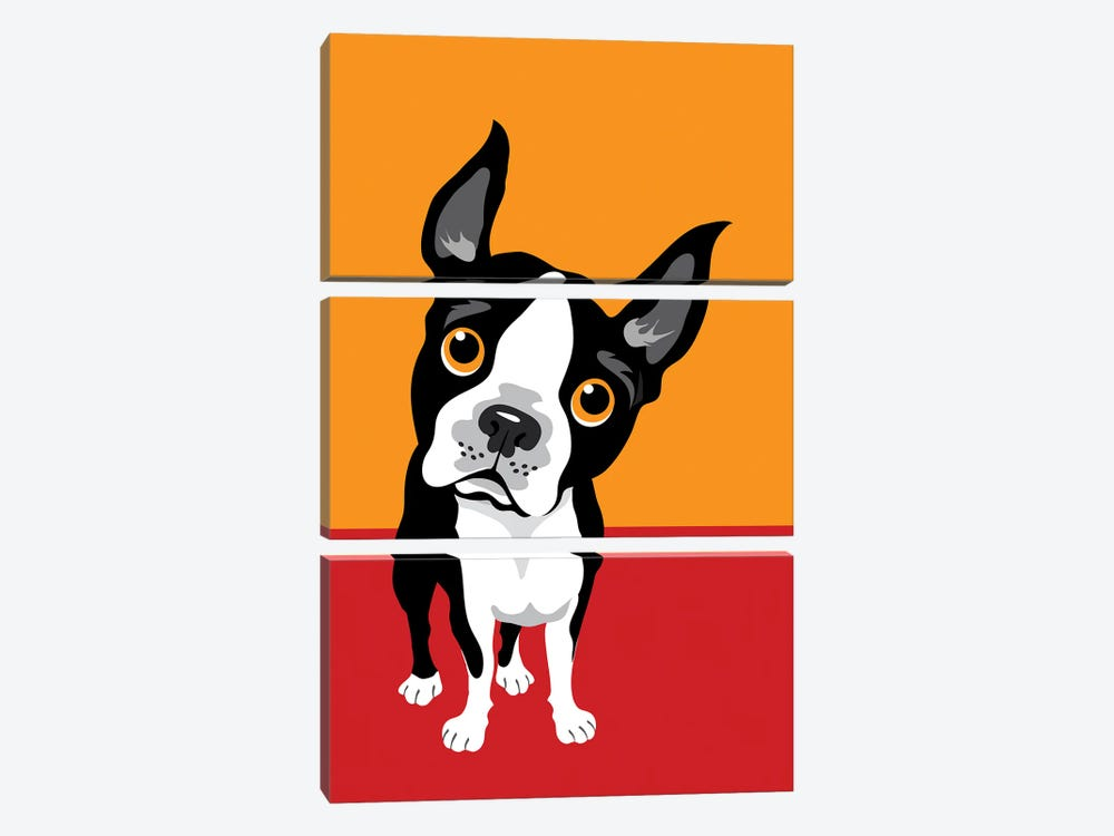 Funny Illustration Of Boston Terrier by Depositphotos 3-piece Canvas Print