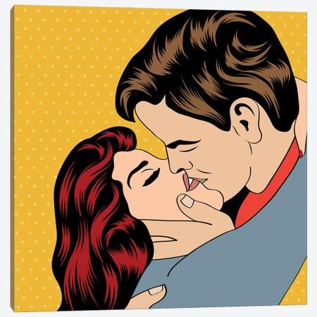 Pop Art Kissing Couple Canvas Print #DPT406} by Depositphotos Canvas Wall Art