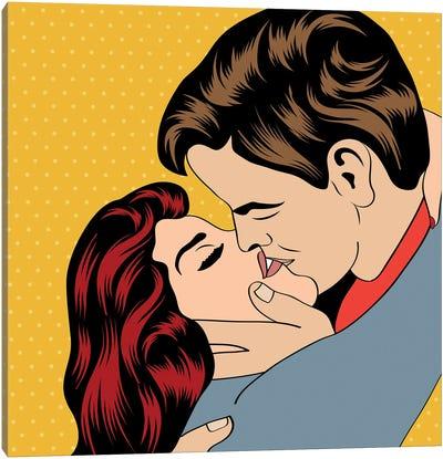 Pop Art Kissing Couple Canvas Art Print