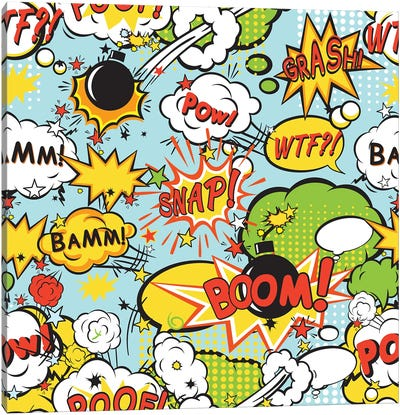 Comic Boom Seamless Pattern Canvas Art Print