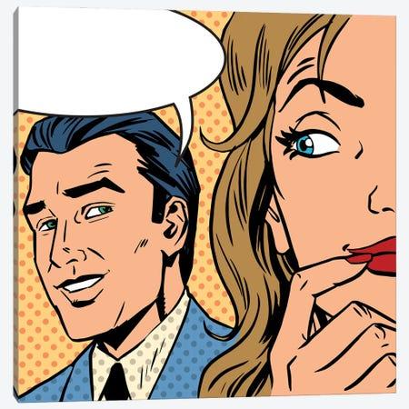 Man Calls Woman Retro Style Comic Pop Art Vintage Canvas Print #DPT412} by Depositphotos Canvas Art