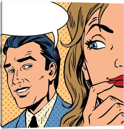 Man Calls Woman Retro Style Comic Pop Art Vintage Canvas Art Print
