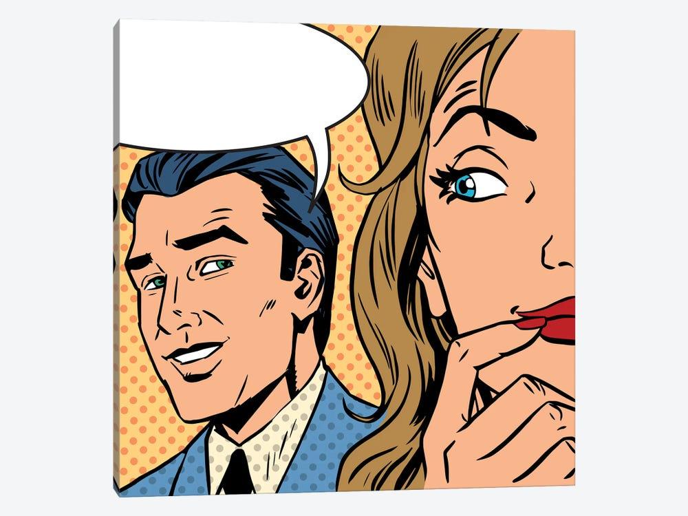Man Calls Woman Retro Style Comic Pop Art Vintage by Depositphotos 1-piece Art Print