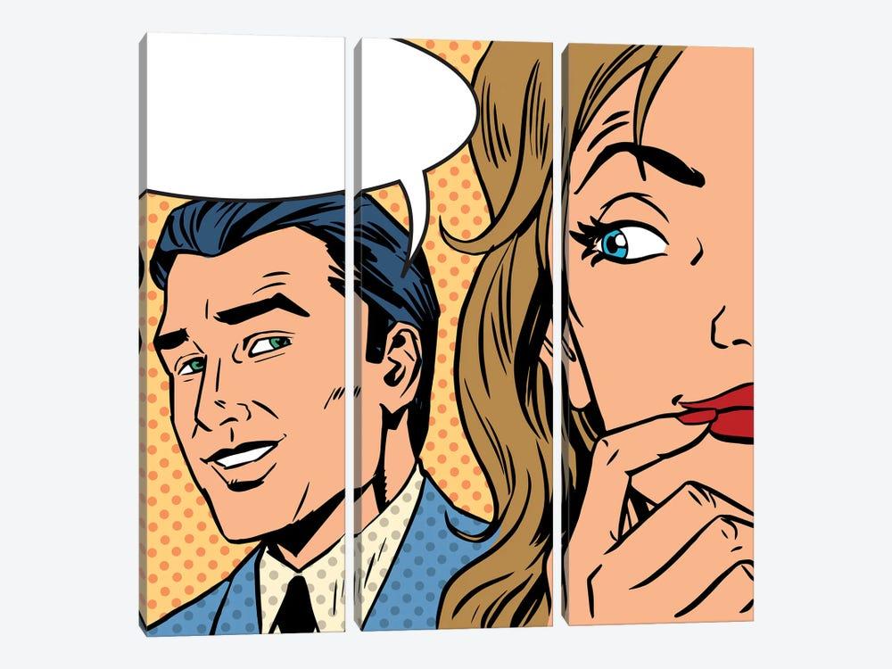 Man Calls Woman Retro Style Comic Pop Art Vintage by Depositphotos 3-piece Art Print