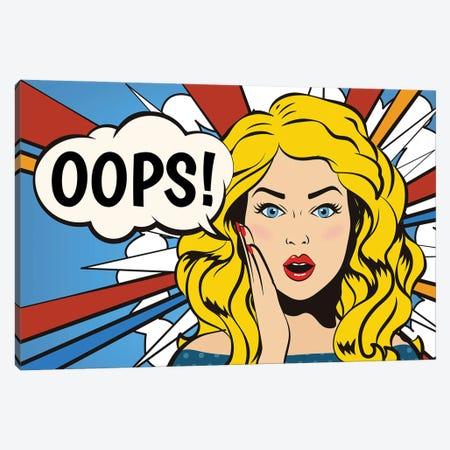 Oops! Surprised Woman. Pop Art Gir Bubble. Canvas Print #DPT413} by Depositphotos Canvas Artwork