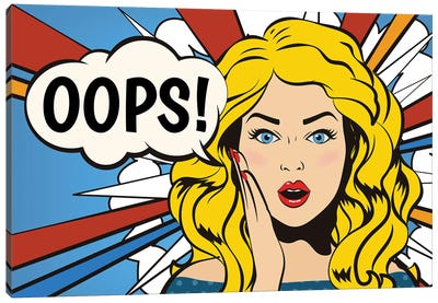 Oops! Surprised Woman. Pop Art Gir Bubble. Canvas Art Print