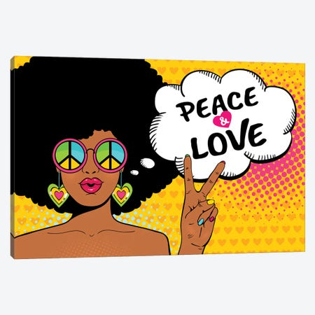 Wow Female Face. Sexy African American Hippie Woman In Glasses With Pacific Sign Shows Victory Sign Canvas Print #DPT414} by Depositphotos Canvas Art Print