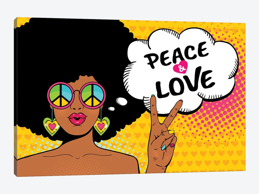 Wow Female Face. Sexy African American Hippie Woman In Glasses With Pacific Sign Shows Victory Sign by Depositphotos 1-piece Art Print