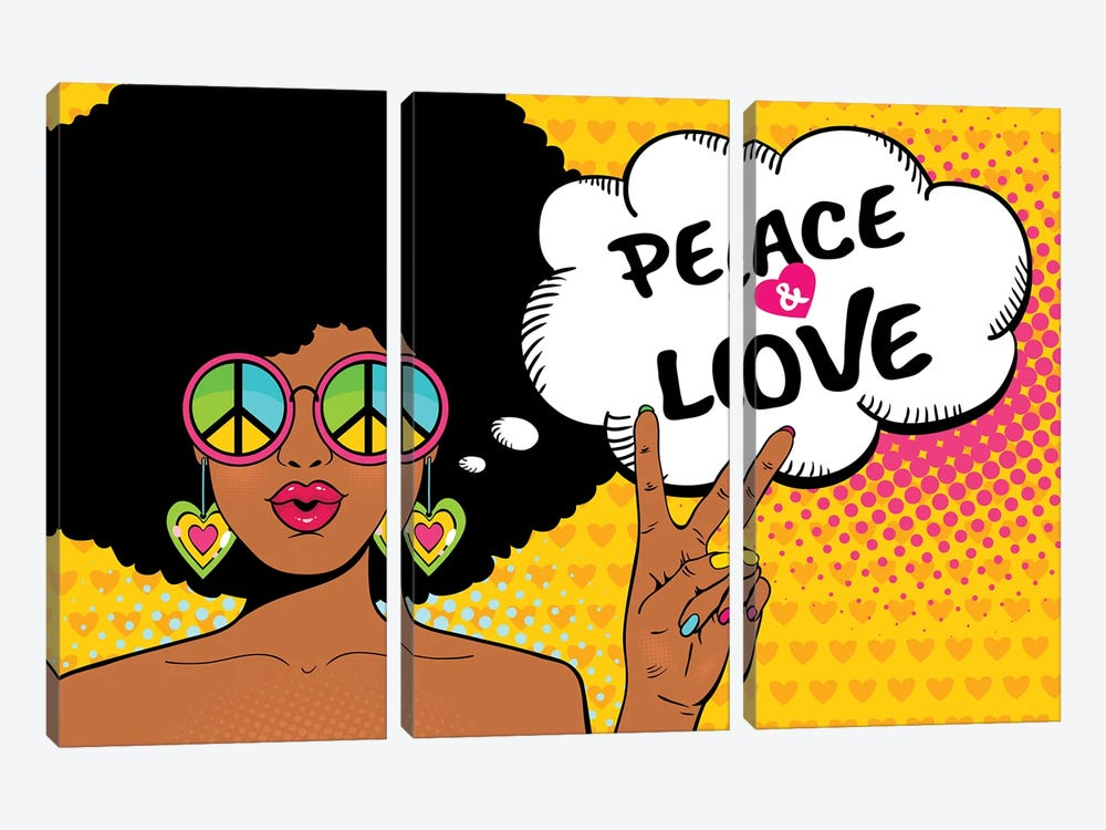 Wow Female Face. Sexy African American Hippie Woman In Glasses With Pacific Sign Shows Victory Sign by Depositphotos 3-piece Canvas Art Print