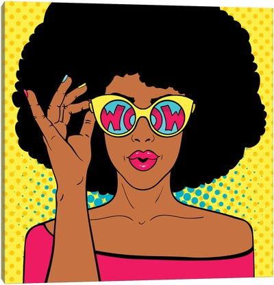 Wow Pop Art Face. Sexy Surprised Black Woman With Afro Hair And Open Mouth Holding Sunglasses In Her Hand Canvas Art Print