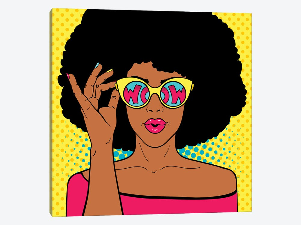 Wow Pop Art Face. Sexy Surprised Black Woman With Afro Hair And Open Mouth Holding Sunglasses In Her Hand by Depositphotos 1-piece Canvas Artwork