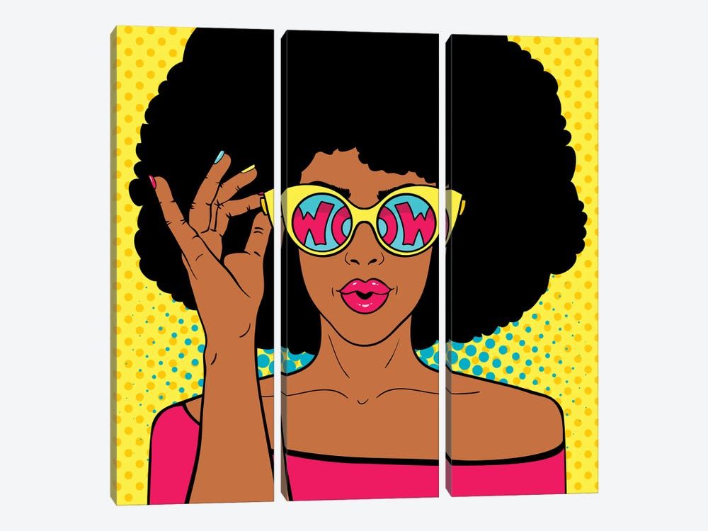 Wow Pop Art Face. Sexy Surprised Black Woman With Afro Hair And Open Mouth Holding Sunglasses In Her Hand by Depositphotos 3-piece Canvas Wall Art
