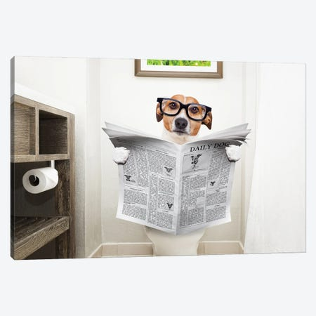 Dog On Toilet Seat Reading Newspaper I Canvas Print #DPT41} by damedeeso Canvas Artwork