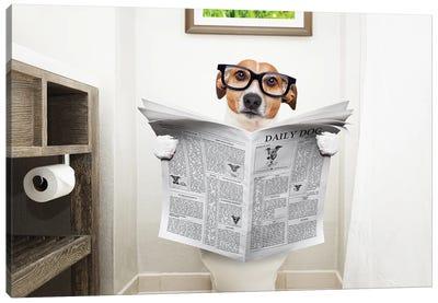 Dog On Toilet Seat Reading Newspaper I Canvas Art Print