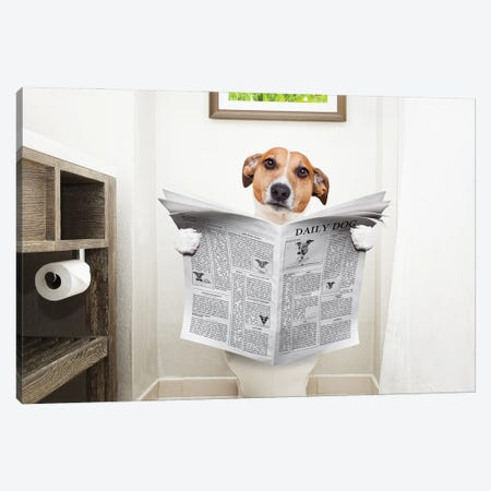Dog On Toilet Seat Reading Newspaper II Canvas Print #DPT42} by damedeeso Canvas Artwork