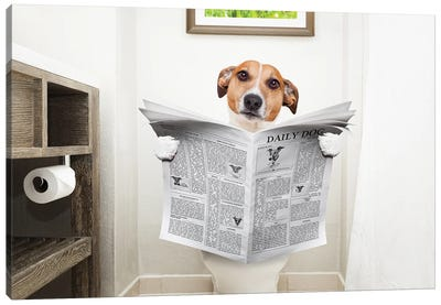 Dog On Toilet Seat Reading Newspaper II Canvas Art Print