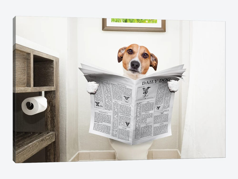 Dog On Toilet Seat Reading Newspaper II by damedeeso 1-piece Canvas Art Print