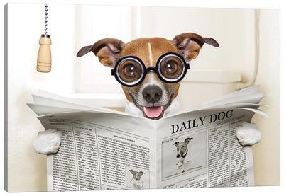 Dog On Toilet Seat Reading Newspaper IV Canvas Art Print