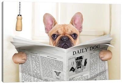 Dog On Toilet Seat Reading Newspaper V Canvas Art Print