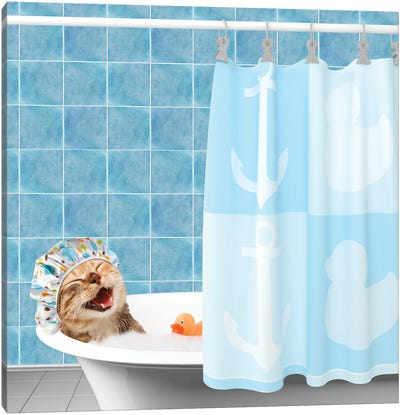 Funny Cat Is Taking A Bath With Toy Duck Canvas Art Print