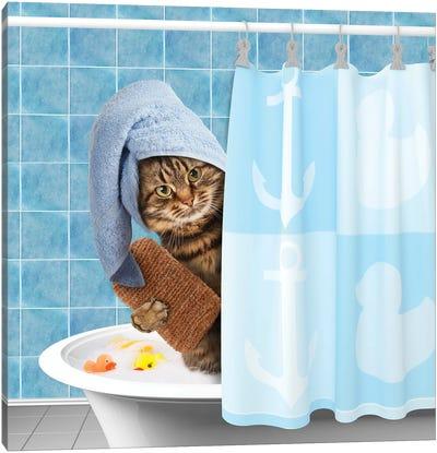 Funny Cat Taking A Bath I Canvas Art Print