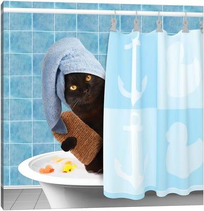 Funny Cat Taking A Bath II Canvas Art Print
