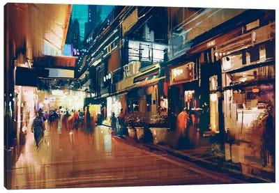 Colorful Night Street Canvas Art Print