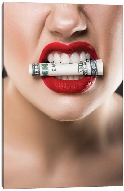Angry Woman With Red Lips Holding Cash In Teeth Canvas Art Print