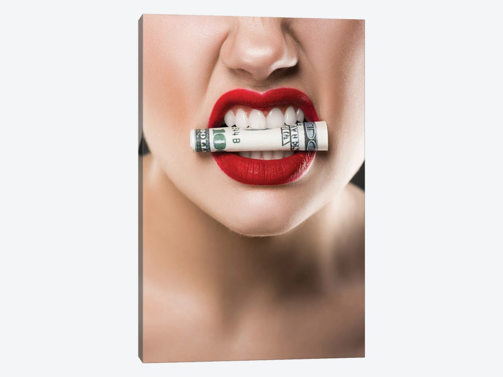 Angry Woman With Red Lips Holding Cash In Teeth by EdZbarzhyvetsky 1-piece Canvas Print