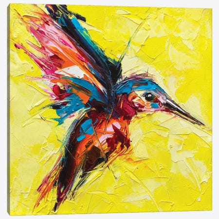 Fantasy Portrait Of A Kingfisher On A Yellow Background Canvas Print #DPT521} by LanaBrest Canvas Art