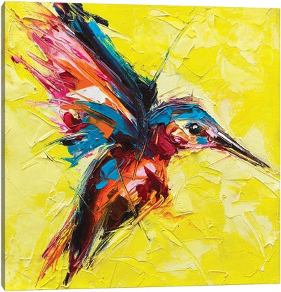 Fantasy Portrait Of A Kingfisher On A Yellow Background Canvas Art Print