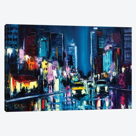 Nightlife In A Rainy Neon Glowing City Somewhere In The West. Oil Painting On Canvas Canvas Print #DPT522} by LanaBrest Canvas Wall Art