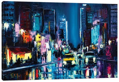 Nightlife In A Rainy Neon Glowing City Somewhere In The West. Oil Painting On Canvas Canvas Art Print