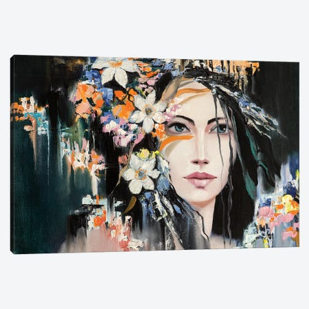 Woman With Flowers In Hair Canvas Print #DPT524} by LanaBrest Canvas Art Print