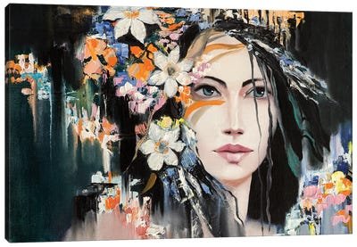 Woman With Flowers In Hair Canvas Art Print