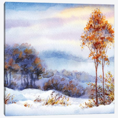 Watercolor Winter Landscape. Snow Covered Valley And Trees Canvas Print #DPT532} by Marinka Canvas Art Print