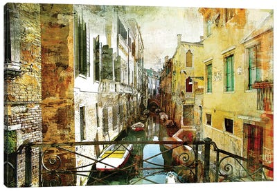 Pictorial Venetian Streets Artwork In Painting Style Canvas Art Print
