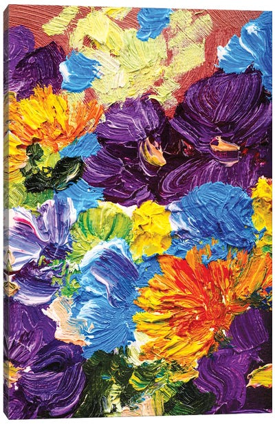 Flowers With Abstract Background Canvas Art Print