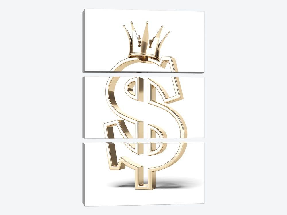 Gold Dollar Sign With Crown by ekostsov 3-piece Art Print