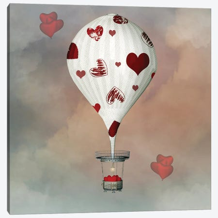 Valentine Hot Air Balloon With Hearts Canvas Print #DPT54} by Ellerslie Canvas Artwork