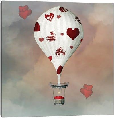 Valentine Hot Air Balloon With Hearts Canvas Art Print