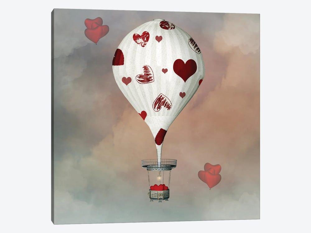Valentine Hot Air Balloon With Hearts by Ellerslie 1-piece Canvas Artwork