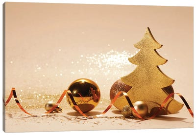 Decorated Christmas Tree, Wavy Ribbon And Glitter On Tabletop Canvas Art Print
