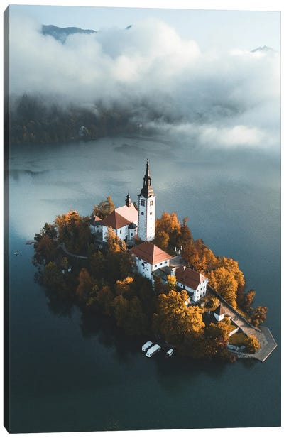 Bled Lake In Triglav National Park In The Julian Alps With A Forest In Autumn Colors In Slovenia Canvas Art Print