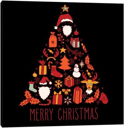 Christmas Doodle Greeting Card Canvas Art Print