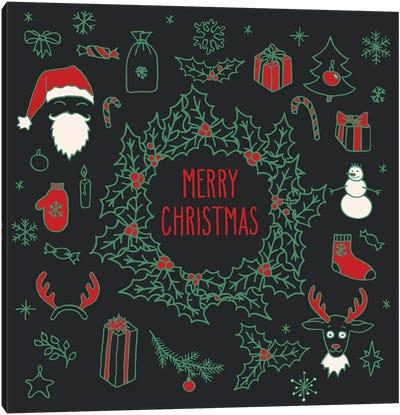 Christmas Doodle Wreath Greeting Card Canvas Art Print